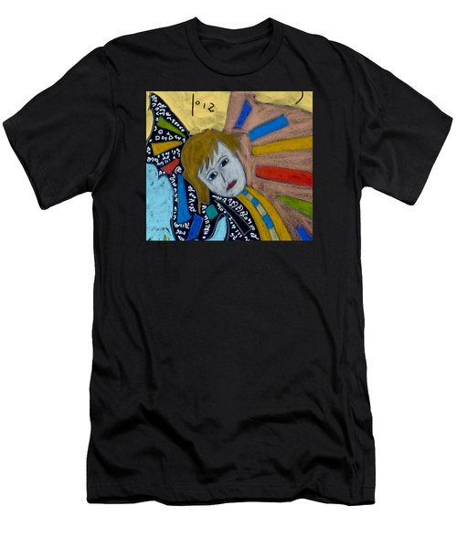Men's T-Shirt (Athletic Fit) featuring the painting Archangel Gabriel by Clarity Artists