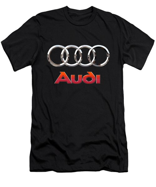 Audi - 3 D Badge On Black Men's T-Shirt (Slim Fit) by Serge Averbukh
