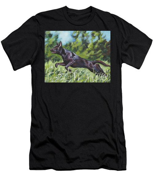 Men's T-Shirt (Slim Fit) featuring the painting Australian Kelpie by Lee Ann Shepard
