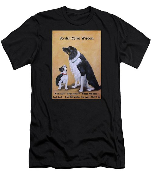 Men's T-Shirt (Slim Fit) featuring the painting Border Collie Wisdom by Fran Brooks