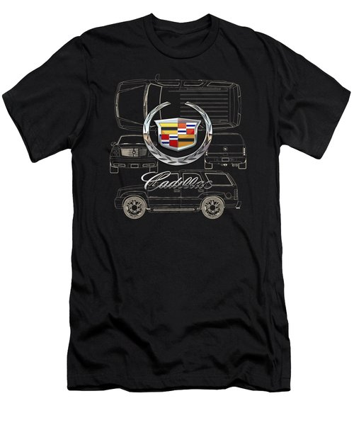 Cadillac 3 D Badge Over Cadillac Escalade Blueprint  Men's T-Shirt (Athletic Fit)