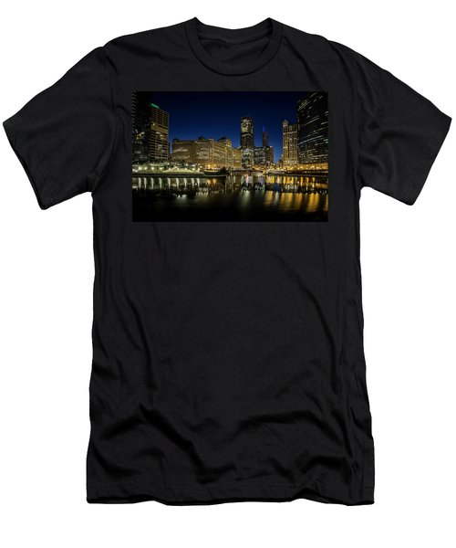 Chicago River And Skyline At Dawn Men's T-Shirt (Athletic Fit)