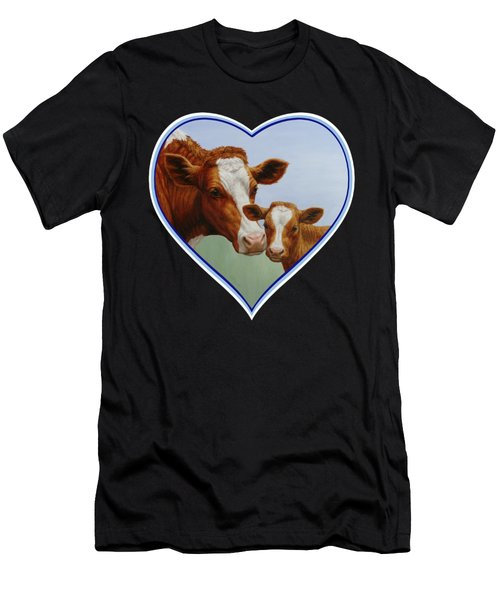Cow And Calf Blue Heart Men's T-Shirt (Athletic Fit)
