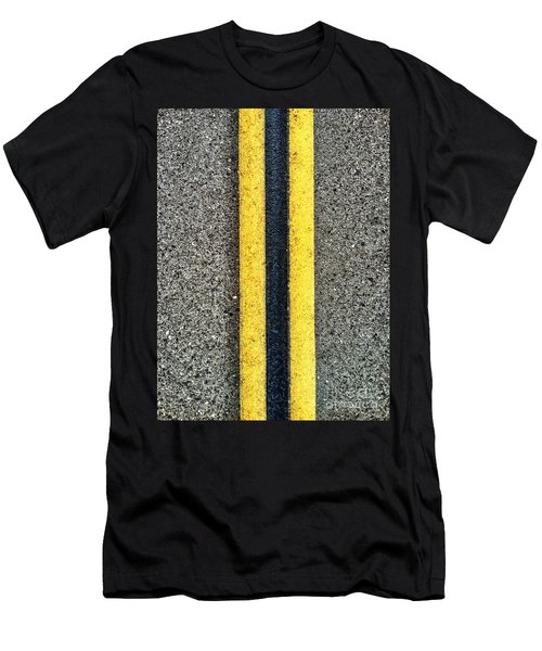 Double Yellow Road Lines Men's T-Shirt (Athletic Fit)