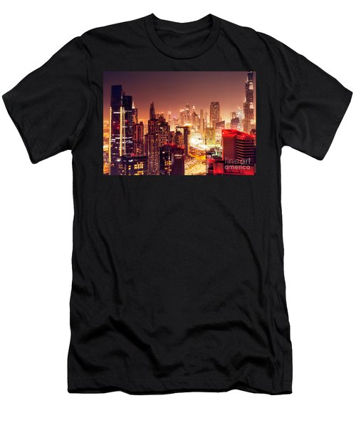 Dubai City At Night Men's T-Shirt (Athletic Fit)