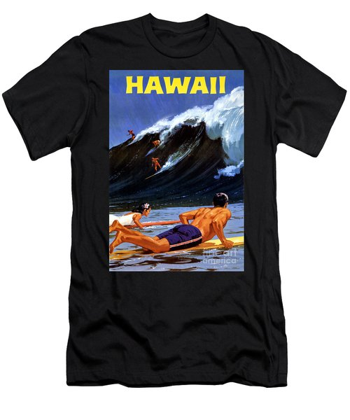 Hawaii Vintage Travel Poster Restored Men's T-Shirt (Athletic Fit)