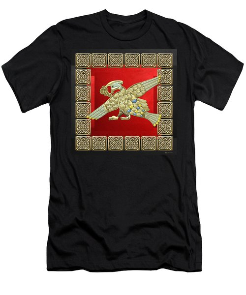 Sacred Celtic Bird On Red And Black Men's T-Shirt (Slim Fit)