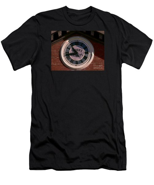 Men's T-Shirt (Slim Fit) featuring the photograph Sauer Company Clock by Melissa Messick