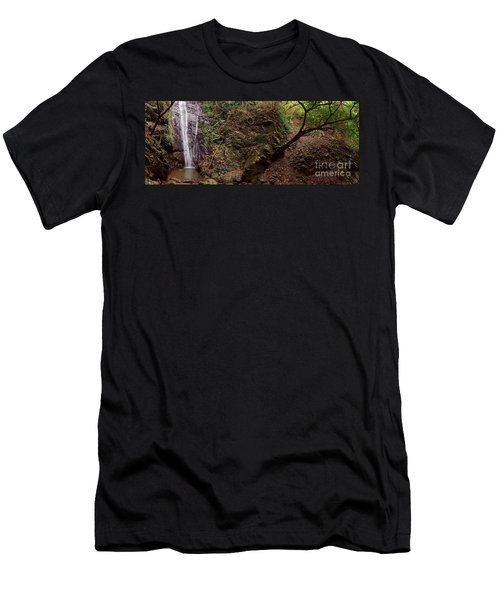 Men's T-Shirt (Athletic Fit) featuring the photograph Secluded Waterfall In The Mountains by Yali Shi