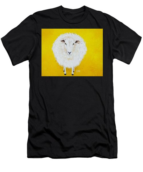 Sheep Painting On Yellow Background Men's T-Shirt (Athletic Fit)