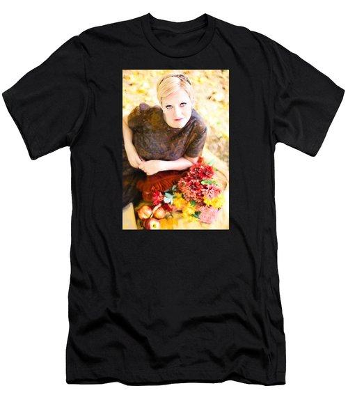 Men's T-Shirt (Athletic Fit) featuring the digital art Vintage Val Autumn Picnic by Jill Wellington