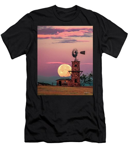 Windmill At Moonset Men's T-Shirt (Athletic Fit)