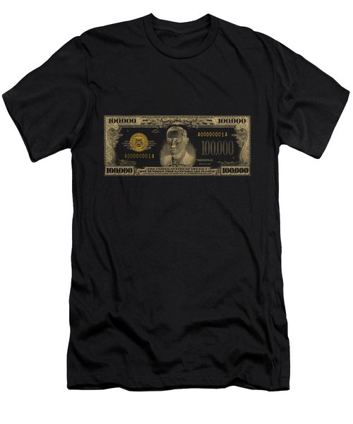 Men's T-Shirt (Slim Fit) featuring the digital art U.s. One Hundred Thousand Dollar Bill - 1934 $100000 Usd Treasury Note In Gold On Black  by Serge Averbukh