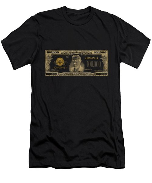 U.s. One Hundred Thousand Dollar Bill - 1934 $100000 Usd Treasury Note In Gold On Black  Men's T-Shirt (Athletic Fit)
