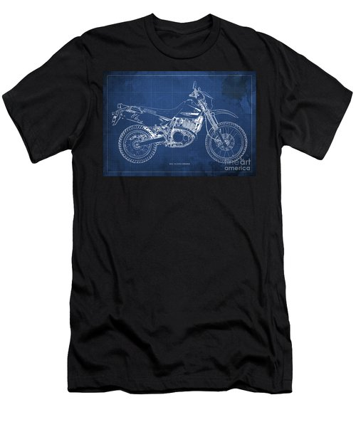 2012 Suzuki Dr650se Motorcycle Blueprint, Blue Background, Awesome Gift For Men Men's T-Shirt (Athletic Fit)