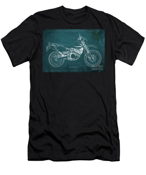 2012 Suzuki Dr650se Motorcycle Blueprint Green Background Awesome Gift For Men Men's T-Shirt (Athletic Fit)