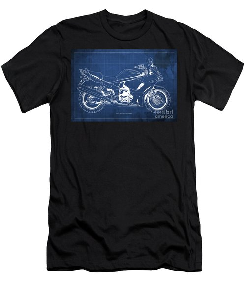 2012 Suzuki Gsx1250fa Motorcycle Blueprint Blue Background Awesome Print For Men Men's T-Shirt (Athletic Fit)