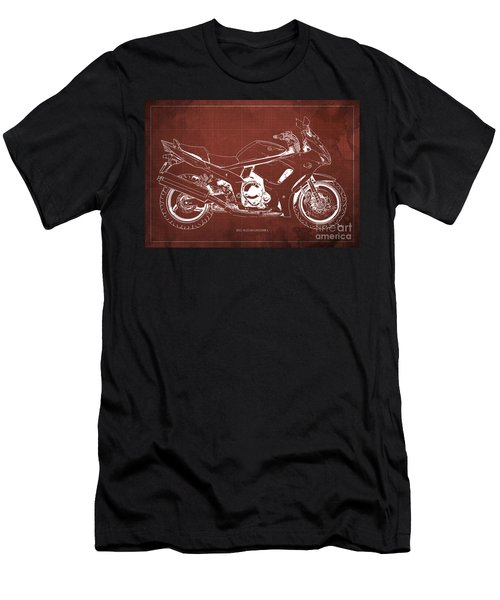 2012 Suzuki Gsx1250fa Motorcycle Blueprint Red Background Awesome Print For Men Men's T-Shirt (Athletic Fit)