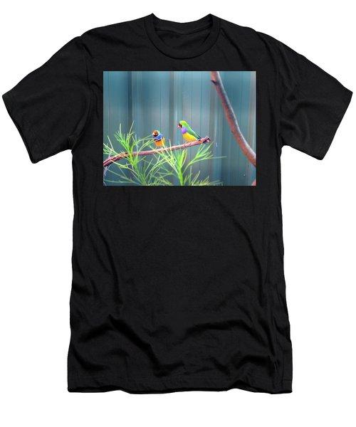 Aussie Rainbow Lovebirds Men's T-Shirt (Athletic Fit)