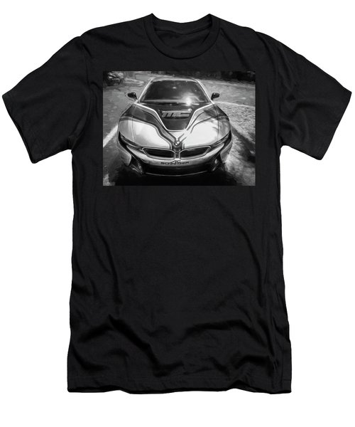2015 Bmw I8 Hybrid Sports Car Bw Men's T-Shirt (Slim Fit) by Rich Franco