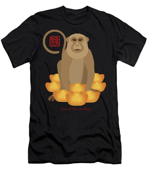 2016 Chinese Year Of The Monkey With Gold Bars Men's T-Shirt (Athletic Fit)