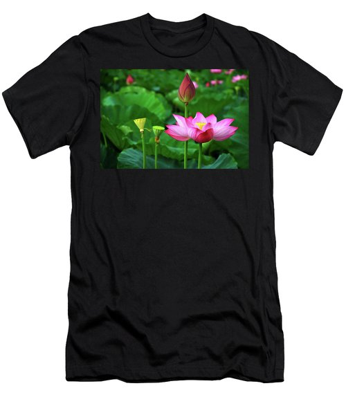 Men's T-Shirt (Athletic Fit) featuring the photograph Blossoming Lotus Flower Closeup by Carl Ning