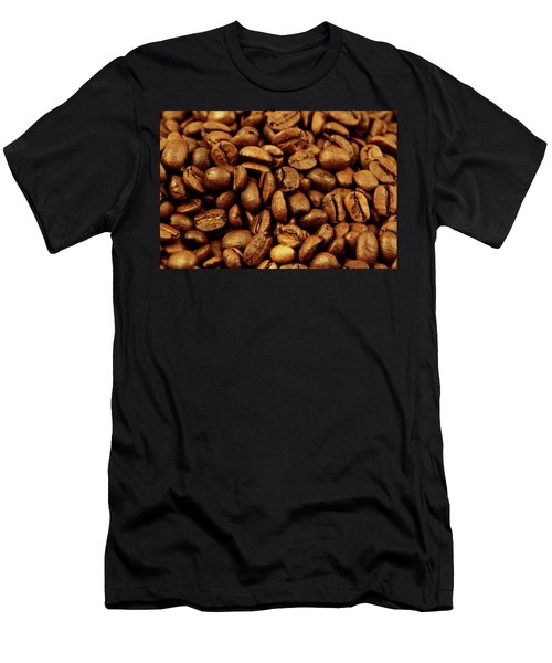 Men's T-Shirt (Slim Fit) featuring the photograph Coffee Beans by Les Cunliffe