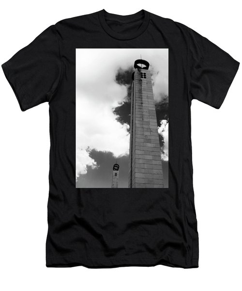 Men's T-Shirt (Athletic Fit) featuring the photograph 25 De Abril Monument In Black And White by Lorraine Devon Wilke