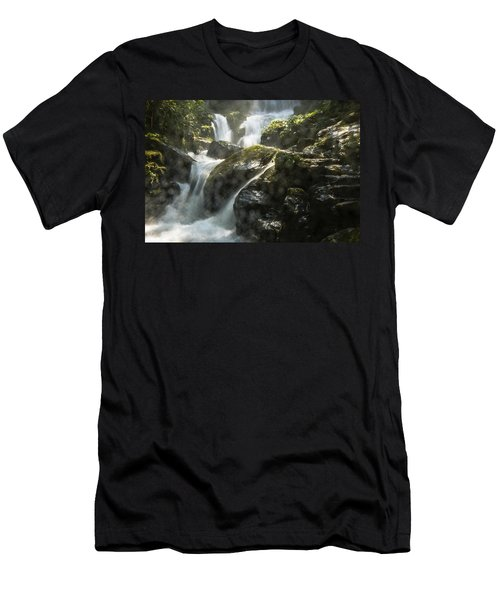 Men's T-Shirt (Athletic Fit) featuring the photograph Waterfall Scenery by Carl Ning