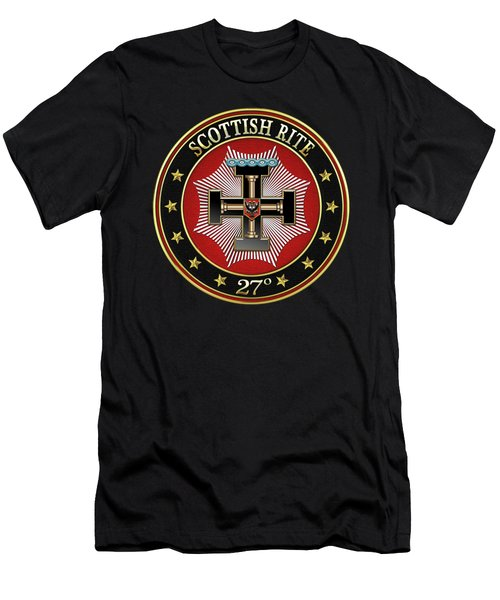 27th Degree - Knight Of The Sun Or Prince Adept Jewel On Black Leather Men's T-Shirt (Athletic Fit)
