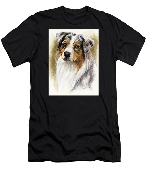 Men's T-Shirt (Athletic Fit) featuring the mixed media Australian Shepherd by Barbara Keith
