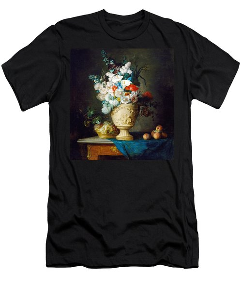 Bouquet Of Flowers In A Terracotta Vase  With Peaches And Grapes Men's T-Shirt (Athletic Fit)