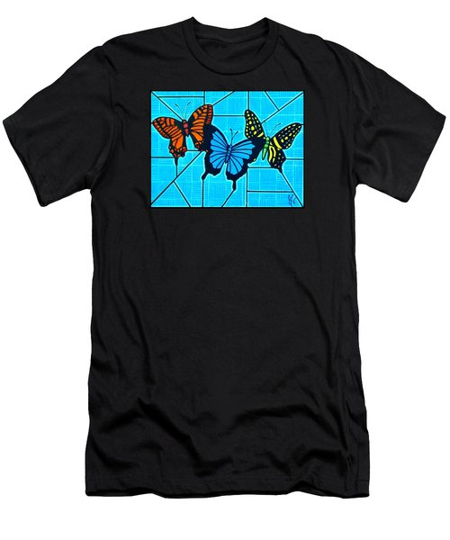 3  Butterflies On Blue Men's T-Shirt (Athletic Fit)