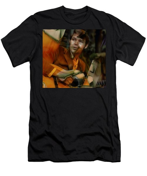 Men's T-Shirt (Athletic Fit) featuring the mixed media Glen Campbell by Marvin Blaine