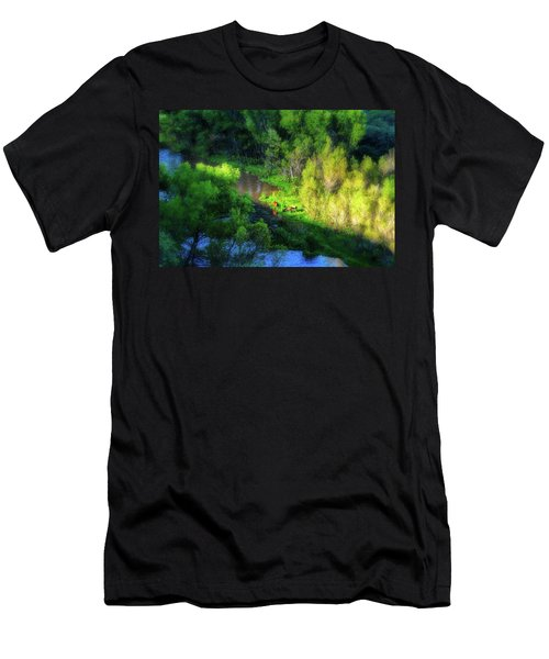 3 Horses Grazing On The Bank Of The Verde River Men's T-Shirt (Athletic Fit)