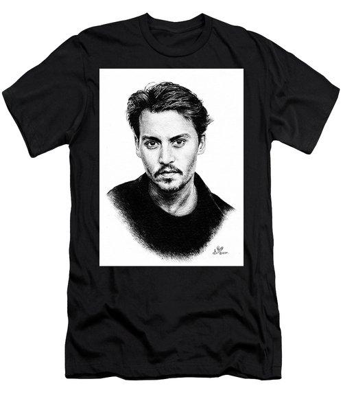 Johnny Depp Bw Version Men's T-Shirt (Athletic Fit)