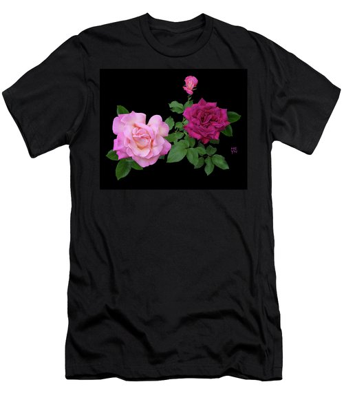 3 Pink Roses Cutout Men's T-Shirt (Athletic Fit)