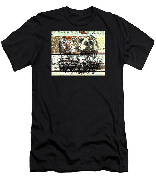 Men's T-Shirt (Slim Fit) featuring the drawing Simmental Bull by Larry Campbell