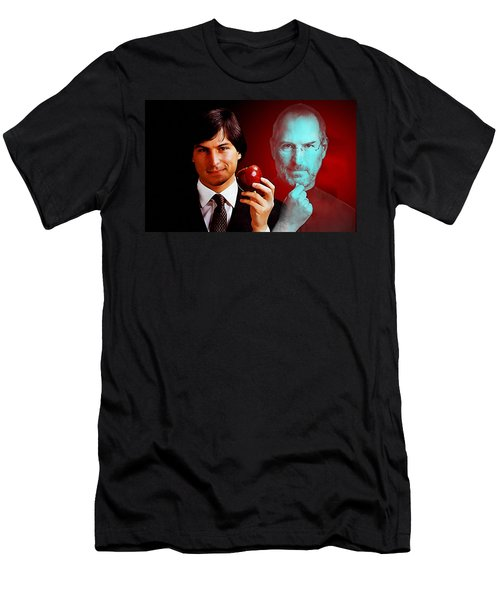 Men's T-Shirt (Slim Fit) featuring the mixed media Steve Jobs by Marvin Blaine