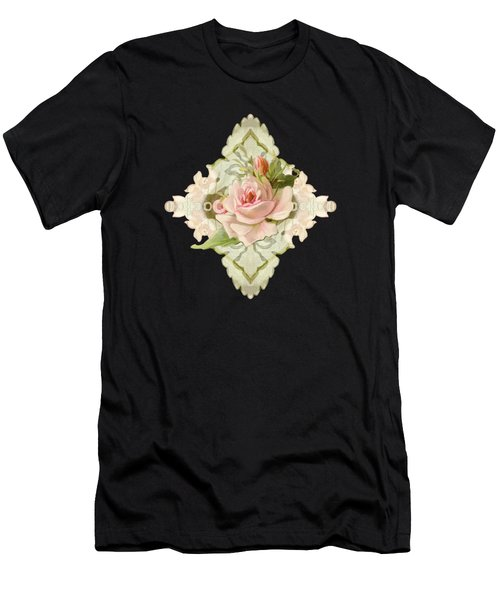 Summer At The Cottage - Vintage Style Damask Roses Men's T-Shirt (Athletic Fit)