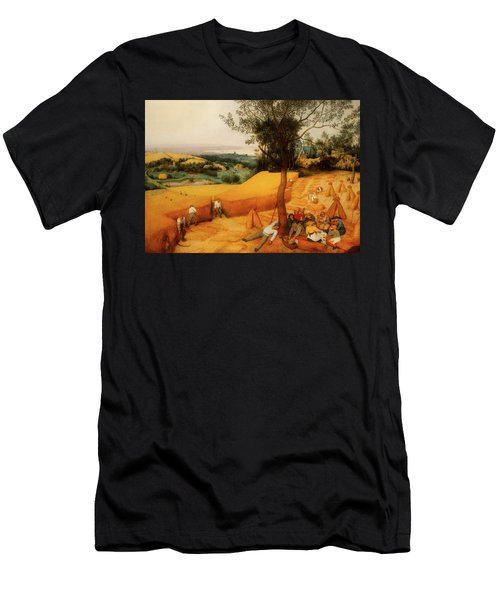 Men's T-Shirt (Slim Fit) featuring the painting The Harvesters by Pieter Bruegel The Elder