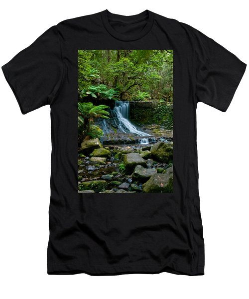 Waterfall In Deep Forest Men's T-Shirt (Slim Fit) by Ulrich Schade