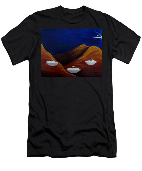 Men's T-Shirt (Slim Fit) featuring the painting 3 Wise Guys by Lola Connelly