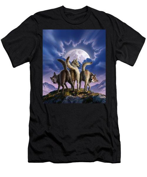 3 Wolves Mooning Men's T-Shirt (Athletic Fit)