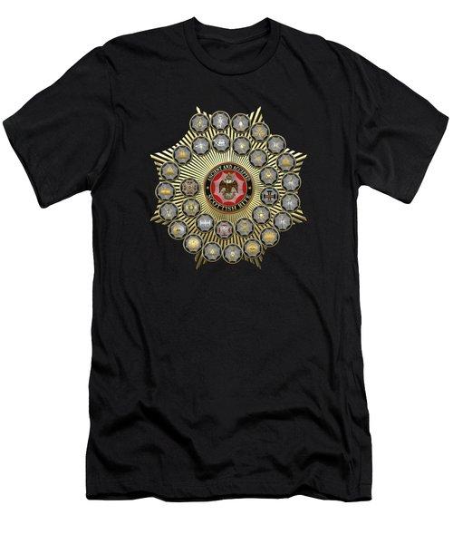 33 Scottish Rite Degrees On Black Leather Men's T-Shirt (Athletic Fit)
