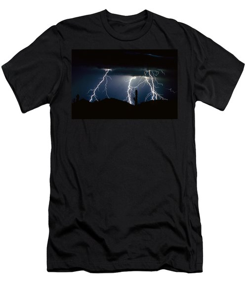 4 Lightning Bolts Fine Art Photography Print Men's T-Shirt (Athletic Fit)
