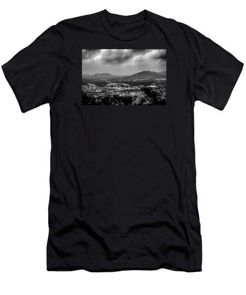 Roanoke City As Seen From Mill Mountain Star At Dusk In Virginia Men's T-Shirt (Slim Fit) by Alex Grichenko