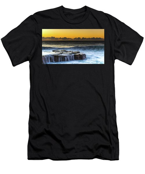 Sunrise Seascape With Cascades Over The Rock Ledge Men's T-Shirt (Athletic Fit)