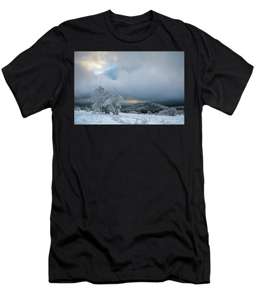 Typical Snowy Landscape In Ore Mountains, Czech Republic. Men's T-Shirt (Athletic Fit)
