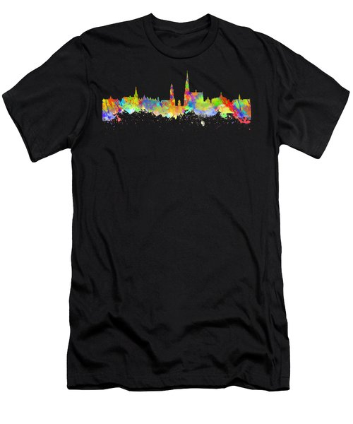 Watercolor Art Print Of The Skyline Of Antwerp In Belgium Men's T-Shirt (Athletic Fit)